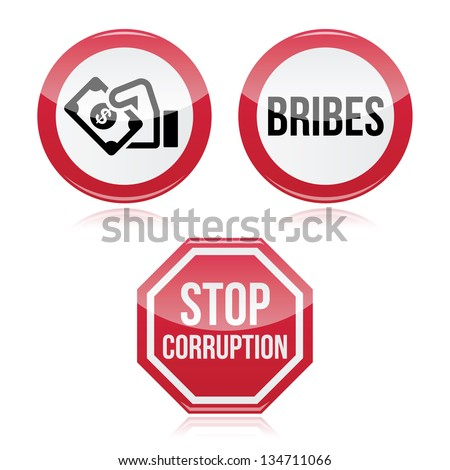 No bribes, sto corruption red warning sign - stock vector