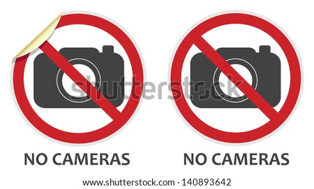 No cameras or photography signs in two vector styles depicting banned activities - stock vector
