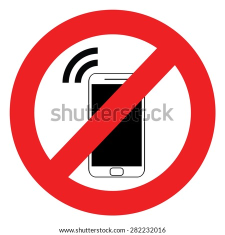 No cell phone sign. - stock vector