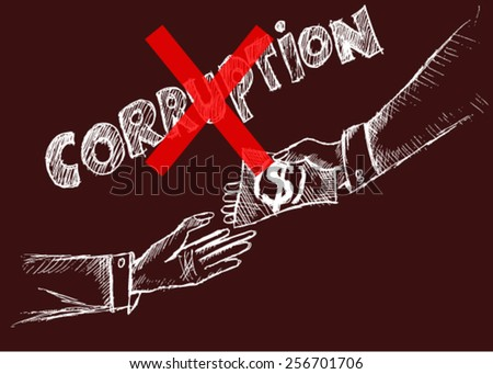 no corruption, sketch - stock vector