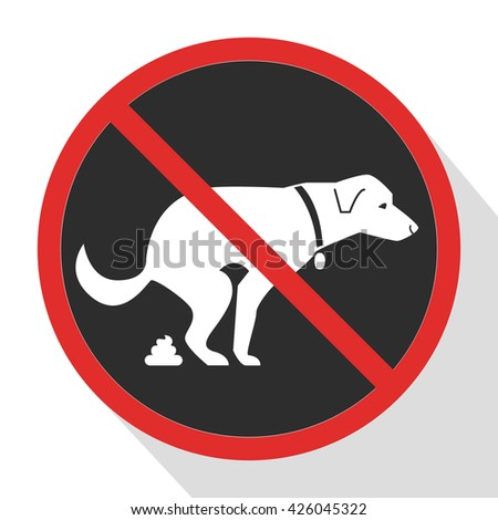 No dog poop sign. Shitting is not allowed. No poo poo. Vector stock illustration - stock vector