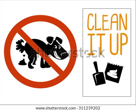 no dog pooping signs. Isolated on white background - stock vector