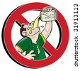 No drinking prohibition sign - stock vector