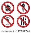 no eating, no food allowed sign set - stock vector