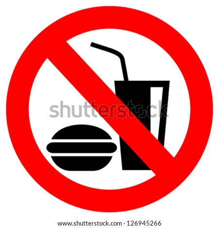 No eating vector sign - stock vector
