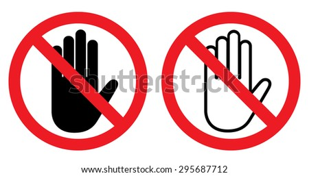 No entry hand sign - stock vector