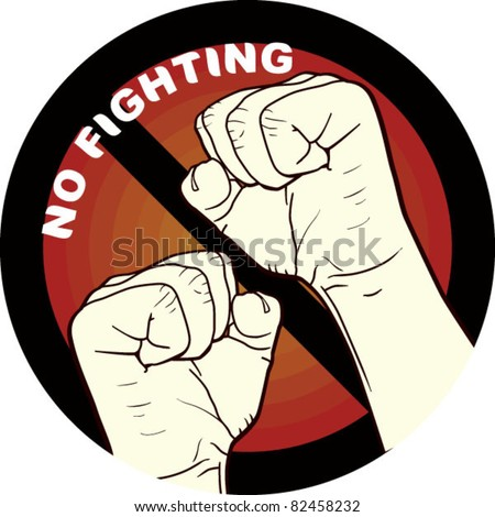 no fighting, fighting is not allowed - stock vector