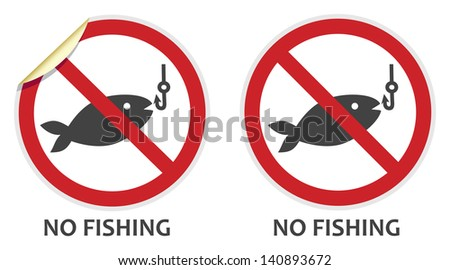 No fishing signs in two vector styles depicting banned activities - stock vector