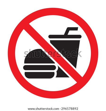 No food allowed symbol, isolated on white background. Prohibition sign. - stock vector
