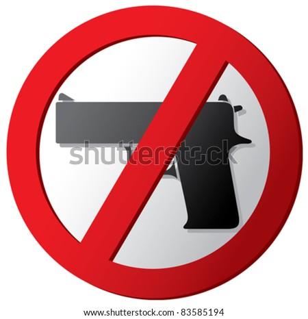 no gun sign - stock vector