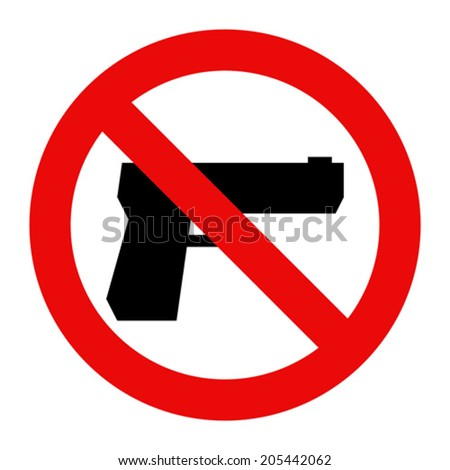 No gun sign isolated on white background - stock vector