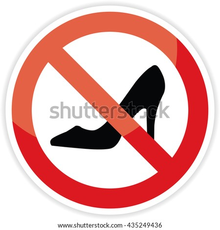 No high heel shoes sign on white background.vector illustration