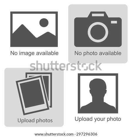 No image available or Picture coming soon. Set of pictures means that  no photo: blank picture, camera, photography icon and silhouette of a man. Missing image sign or uploading pictures. Vector. - stock vector