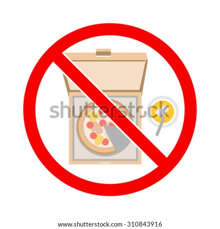 No junk food. No fast food. Sign vector. - stock vector