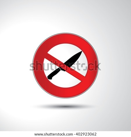 No knife no weapon prohibition sign icon illustration - stock vector