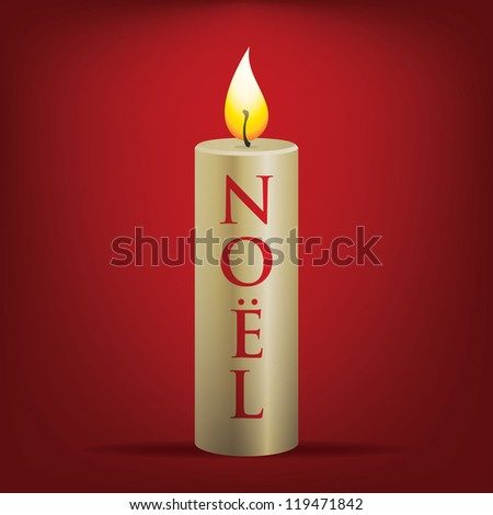 No�«l Christmas candle card in vector format. - stock vector
