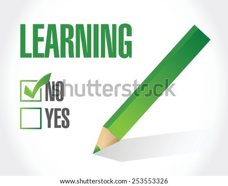 no learning check list illustration design over a white background - stock vector