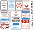 No Lifeguard on Duty Signs Set. Vector - stock vector