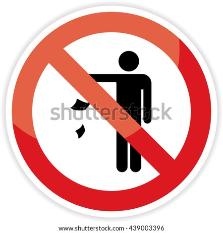 No littering sign on white background.vector illustration