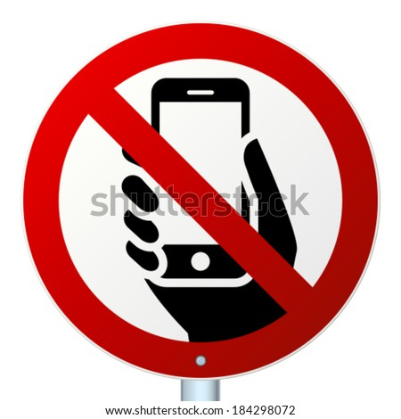 No mobile phones high-detailed vector icon - stock vector