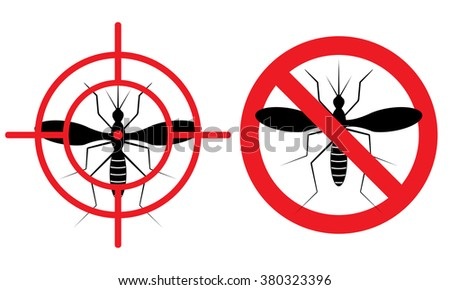 No mosquitos sign. Vector illustration for protection against insects. Slashed mosquito in  red circle or in the target. Stop  spread of malaria, tertian and yellow fever.  - stock vector