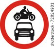 no motor vehicles sign in vector - stock vector