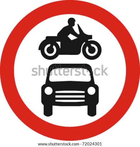 no motor vehicles sign in vector - stock vector