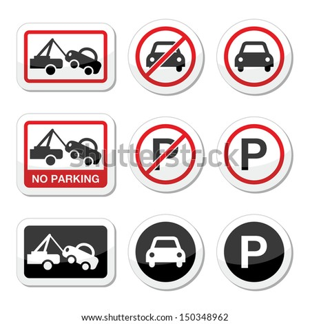 No parking, parking forbidden red and black sign  - stock vector