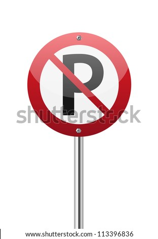 No parking sign on white