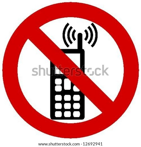 no phone allowed - stock vector