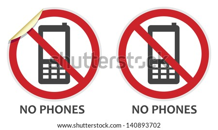 No phones signs in two vector styles depicting banned activities - stock vector