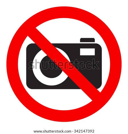 No photography icon, prohibition sign, isolated on white background, vector illustration. - stock vector