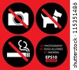 No Photography, No Dogs Allowed, No Smoking Signs Set 1 - EPS10 Vector - stock vector