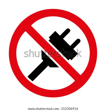 No plug icon great for any use. Vector EPS10. - stock vector