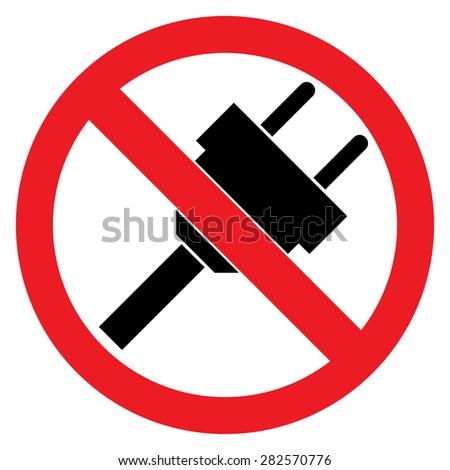 No Plug Sign - stock vector