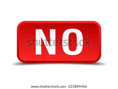 No red 3d square button isolated on white - stock vector