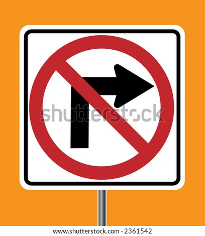 No Right turn sign - VECTOR - stock vector