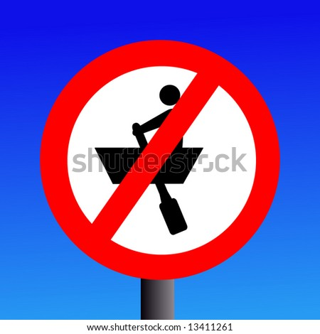 no rowing boats sign on blue illustration
