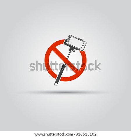 no selfie sticks isolated vector icon do not use monopod for selfie prohibit. Black Bedroom Furniture Sets. Home Design Ideas