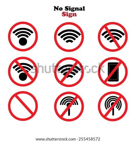 No signal sign vector.no signal area    - stock vector