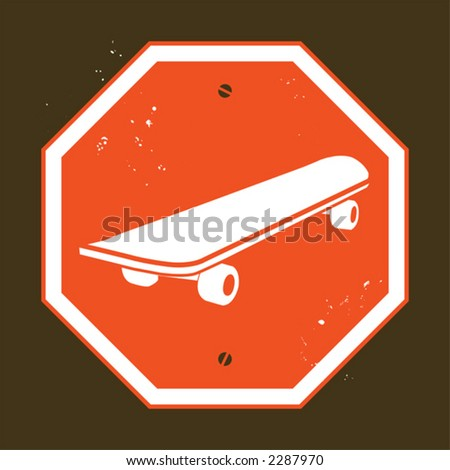 no skateboarding - stock vector