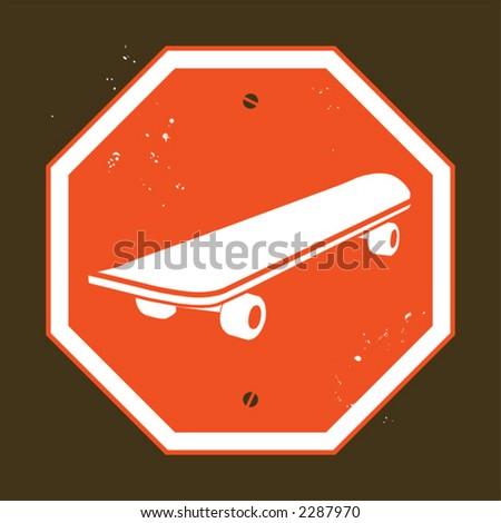 no skateboarding - stock vector