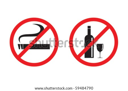 No smoking and drinking vector - stock vector