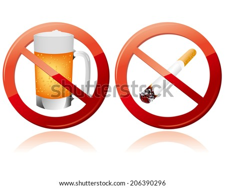 No smoking and No alcohol sign Vector - stock vector
