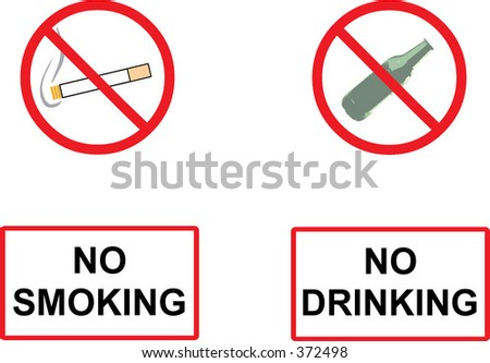 no smoking and no drinking signs, all objects can be easily separated - stock vector