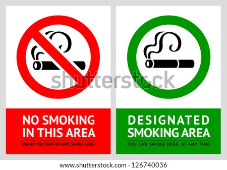 No smoking and Smoking area labels - Set 7, vector illustration - stock vector