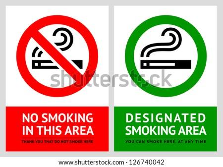 No smoking and Smoking area labels - Set 8, vector illustration - stock vector