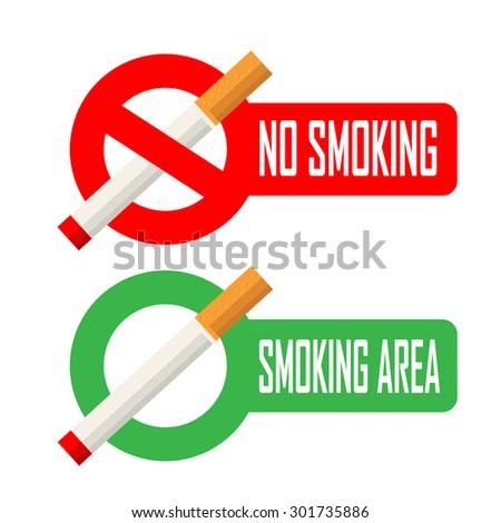 No smoking and smoking area signs - stock vector