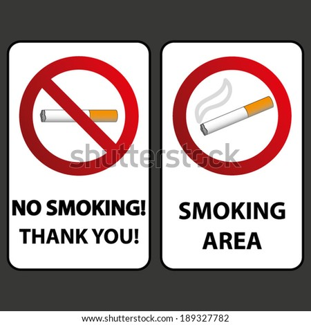 No Smoking And Smoking Signs Labels  - stock vector