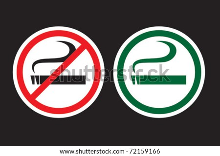 No Smoking and Smoking Zone - stock vector